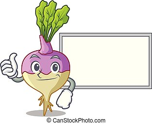 rutabaga, polegares cima, tábua, raiz, caricatura, jardim