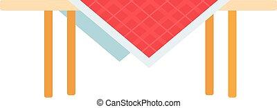 rutig, bordduk, vektor, röd, ikon, bord, lägenhet, isolerat