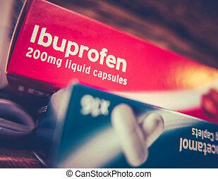 rutor, av, paracetamol, och, ibuprofen