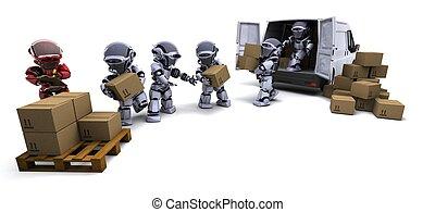 rutor, ladda, skåpbil, robot, skeppning