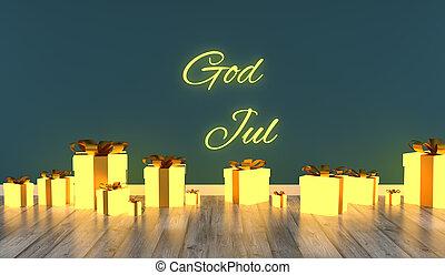 rutor, rum, gåva, jul, glödande, gud