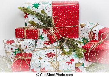 rutor, vit fond, gåva, jul