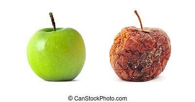 rutten, grönt äpple