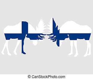 Rutting moose in finnish flags