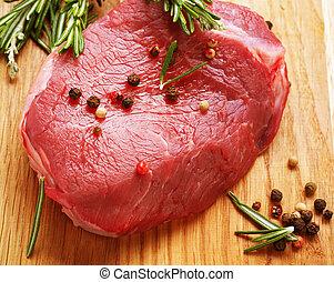 ruw rundvlees, biefstuk