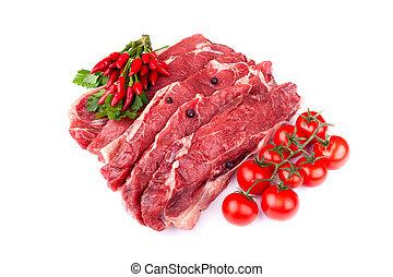 ruw rundvlees, biefstukken