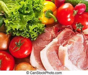 ruw rundvlees, en, groentes
