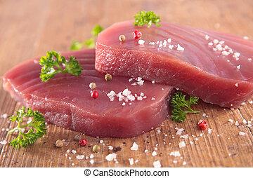 ruwe tonijn, biefstuk