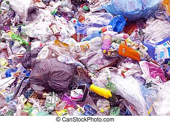 Plastic waste - RUZOMBEROK, SLOVAKIA - APRIL 25: Plastic...