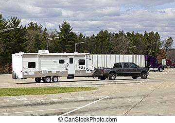 rv, 卡車, 休息, 半, 區域