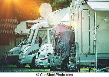 rv, 露營者, 儲存, 地方