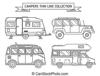 rv, arte, campeggiatori, linea sottile, roulotte