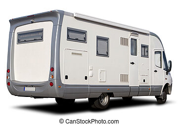 RV - Big Recreational Vehicle Isolated on White with Shadow