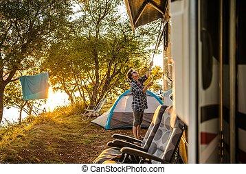 RV Camper Camping Site