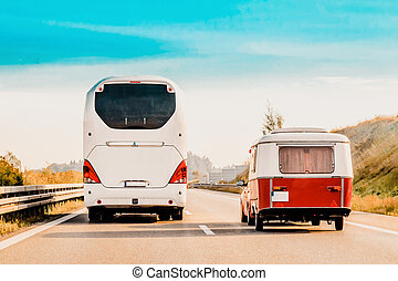 RV Camper Car and Bus on Road in Switzerland