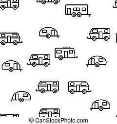 Rv Camper Cars Vehicle Vector Seamless Pattern