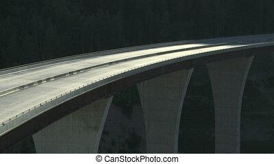 RV Camper on high bridge 01 - RV Camper traffic crossing...