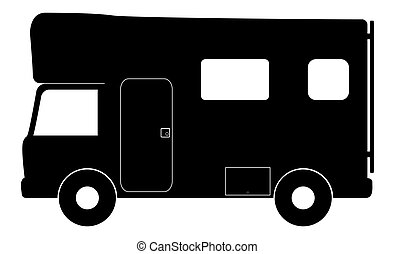 RV Camper Van Small - An RV camper van isolated on a white...
