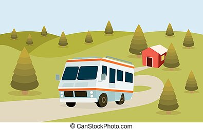 RV Camping Resort Partk Flat Style Illustration Vector