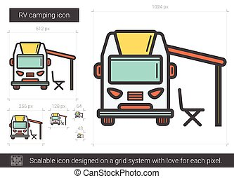 Rv camping resort partk flat style illustration.