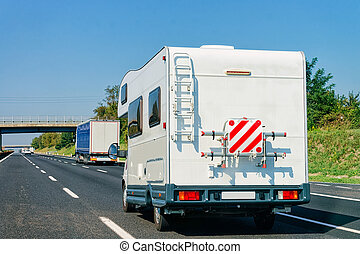 RV Caravan Car in Road Camper and motorhome Italy