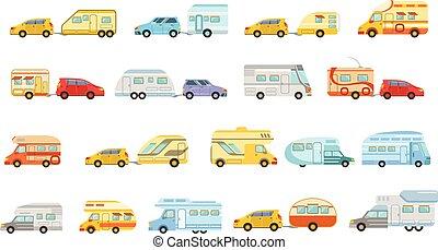 rv, jogo, coloridos, ícones, minivan, reboque