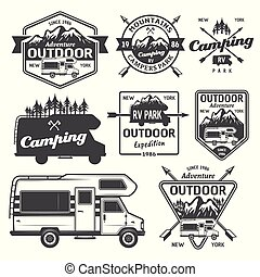 rv, kamperen, buitene ontspanning, vector, emblems