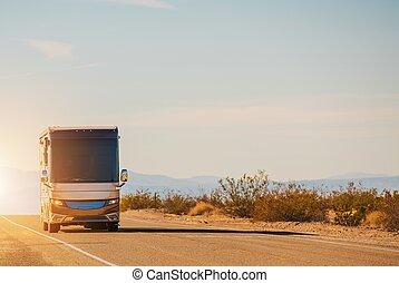 rv, motorcoach, viagem estrada
