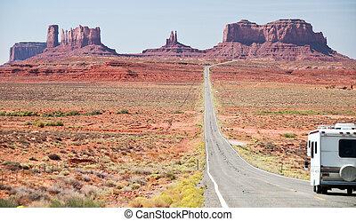 rv, motorhome, 猶他州, 進入, 紀念碑山谷