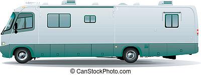 rv motorhome camper - realistic vector rv motorhome camper