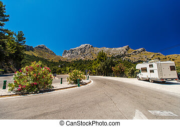 RV on a road of Mallorca, Spain