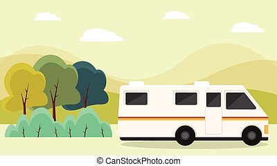 RV parked beside trees in front of mountains