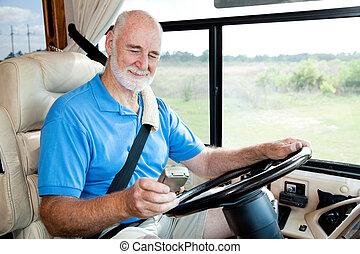 rv, -, senior, navigeren, navigatiesysteem