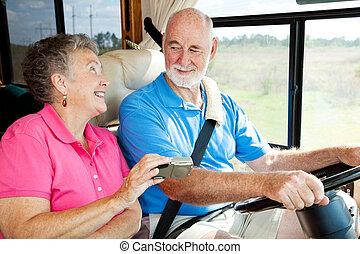 rv, seniores, -, gps, navegação