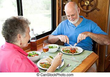 rv, seniors, élvez, vacsora