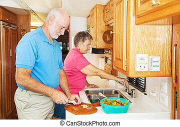 rv, seniors, alatt, konyha