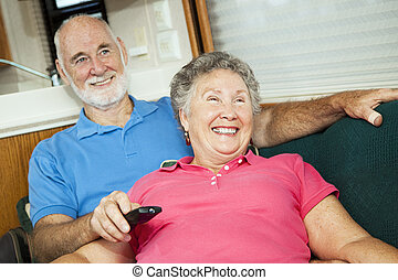 RV Seniors Amused by Television