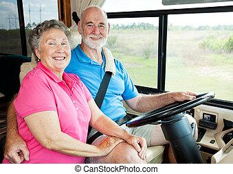 rv, seniors, -, az úton