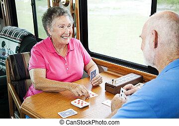 rv, seniors, -, játék kártya