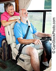 rv, seniors, lovaglás, alatt, mód