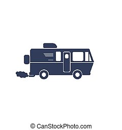 RV symbol - Simple symbol recreational vehicle on a white...