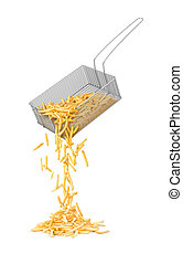 RW French fries spill out of the basket on a white background