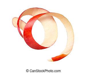rw, manzana roja, peladura, fondo blanco