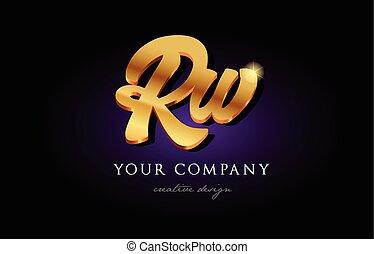 rw  r w 3d gold golden alphabet letter metal logo icon design handwritten typography