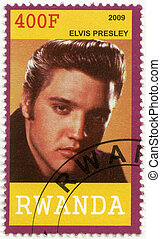 RWANDA - CIRCA 2009: A stamp printed in Republic of Rwanda shows Elvis Aaron Presley (1935-1977), circa 2009