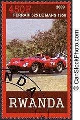 RWANDA - CIRCA 2009: A stamp printed in Republic of Rwanda shows Ferrari 625 Le Mans, 1956, circa 2009