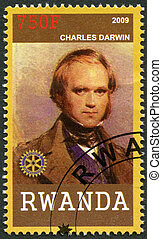 RWANDA - 2009: shows portrait Charles Darwin (1809-1882)