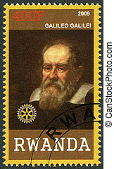 RWANDA - 2009: shows portrait of Galileo Galilei (1564-1642)