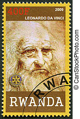 RWANDA - 2009: shows portrait of Leonardo da Vinci (1452-1519)