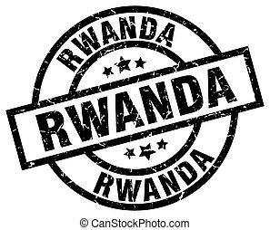 Rwanda black round grunge stamp